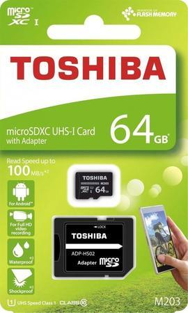 TOSHIBA MicroSDXC 64GB CL10 UHS1 + adap.