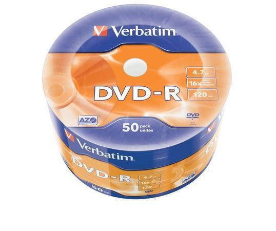 DVD-R 4,7GB, 16x, matné, 50 ks, Verbatim, bal. 50 ks, 43788