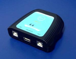 USB switch, 2:1 (USB A(F)/2xUSB B(F), manuální přepínání na tlačítko, USB 2.0 (Přepínač USB zařízení