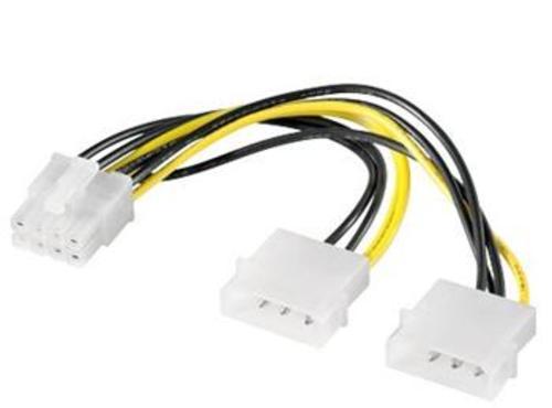 """REDUKCE VGA napájení 2x5.25"""" Molex - 8 pin pro PCI-E grafické karty"""