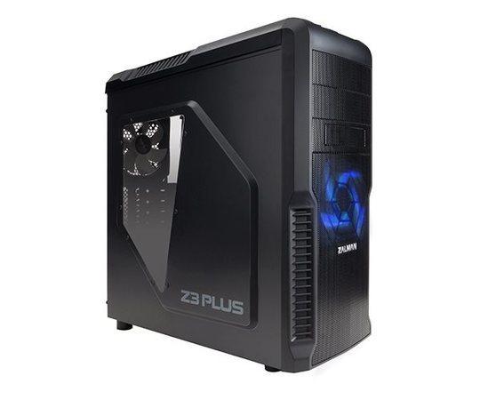 Zalman case miditower Z3 Plus, mATX/ATX, průhledný bok, bez zdroje, USB3.0, černá, Z3 PLUS