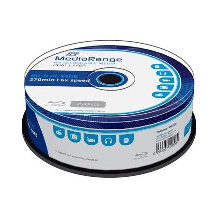 MEDIARANGE BD-R BLU-RAY 50GB 6x Dual Layer spindl 25pck/bal, MR508