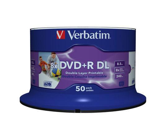 Verbatim DVD+R DL 8,5GB 8x, Printable, cakebox, 50ks (43703), 43703