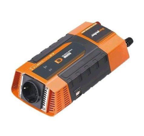 Napěťový měnič Carspa PID600-12, 12V/230V+2xUSB 600W, modifikovaná sinus, digitální display, vhodný do auta