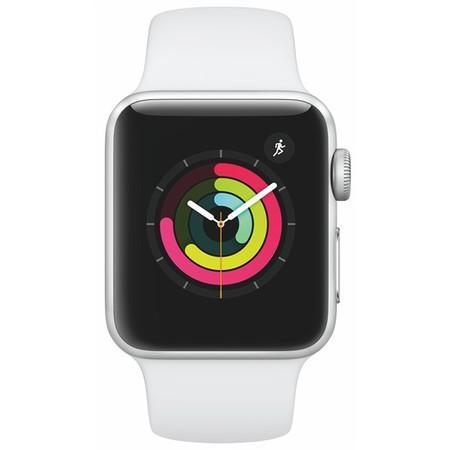 Apple Watch Series 3 38mm stříbrný hliník s bílým sportovním řemínkem (2017)