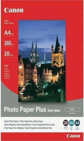 Fotografický papír, do inkoustové tiskárny, pololesklý, A4, 260g, CANON, bal. 20 ks, 1686B021/SG-201
