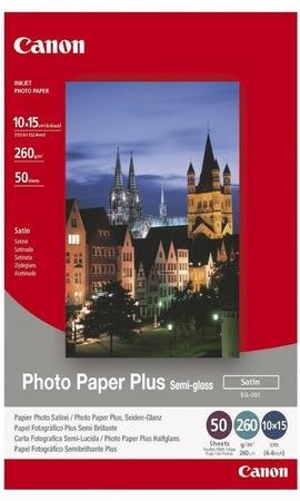 Fotografický papír, do inkoustové tiskárny, pololesklý, 10x15 cm, 260g, CANON, bal. 50 ks, 1686B015