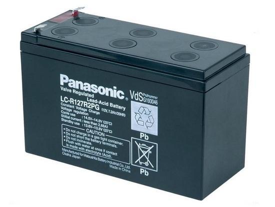 PANASONIC olověná baterie LC-R127R2PG do UPS APC/ AEG/ EATON/ Powerware/ 12V/ 7,2Ah/ životnost 6-9 let/ Faston 187, 00238