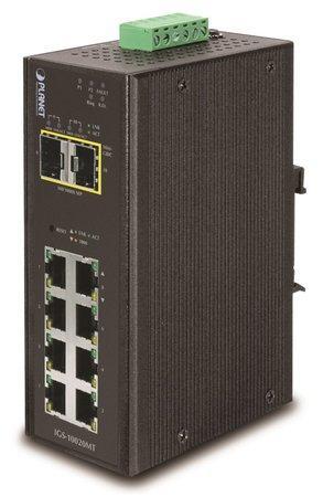 PLANET IGS-10020MT Průmyslový Switch 8x 10/100/1000 + 2x 100/1000 SFP, Management, -40 +75°C, IGS-10