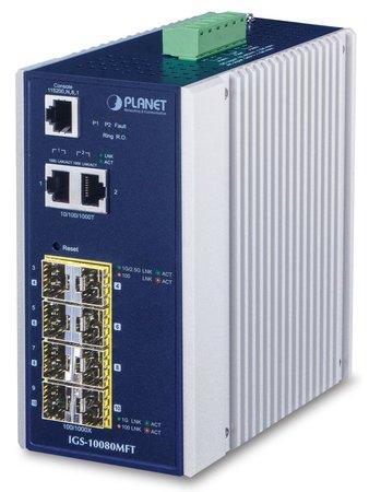 PLANET IGS-10080MFT Průmyslový Switch 8x 100/1000 SFP + 2x 10/100/1000, Management, -40 +75°C, IGS-1