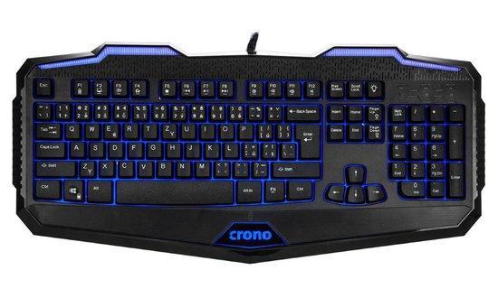 CRONO klávesnice CK2110/ gaming/ drátová/ podsvícená/ USB/ CZ+SK/ černá