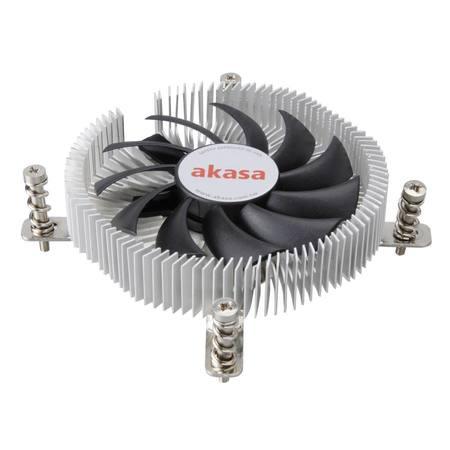 AKASA Chladič CPU AK-CC7129BP01 pro Intel LGA 775 a 115x, 75mm PWM ventilátor, pro mini ITX skříně, AK-CC7129BP01