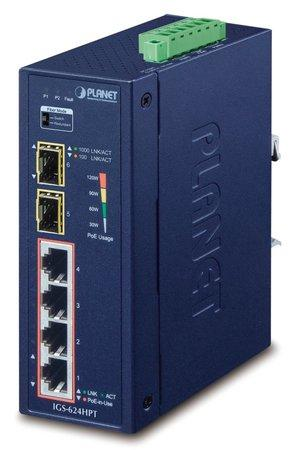 PLANET IGS-624HPT Průmyslový Switch 4x 10/100/1000M PoE+ + 2x 100/1000 SFP -40~+75°C, TB napájení 12-48VDC, DIN, managed, IGS-624HPT