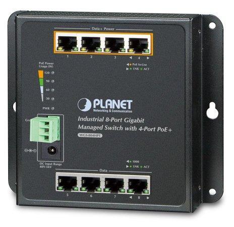 Planet WGS-804HPT nástěnný PoE switch 8x1000B-T,4x PoE IEEE 802.3at