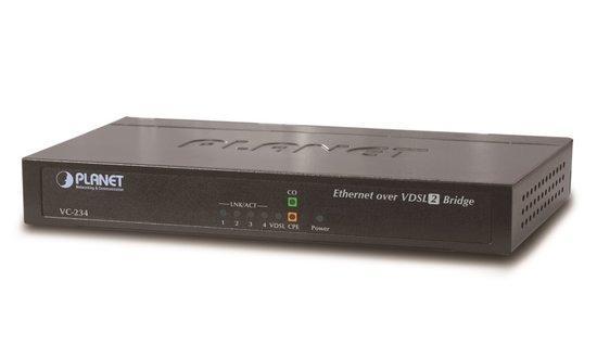 PLANET VC-234 Ethernet po VDSL bridge, 4x 10/100/1000 RJ45 na pár VDSL/VDSL2, do 1,4km, 30a profil