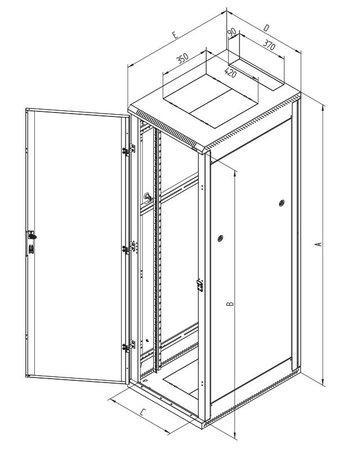 """Triton 19"""" rozvaděč stojanový 42U/600 x 600 plechové perforované dveře, šedý, RMA-42-L66-CAX-A1"""