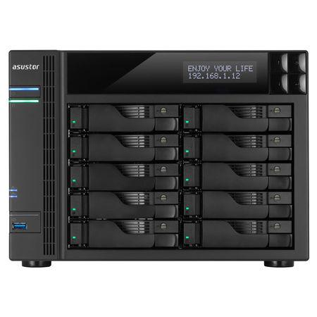 Asustor AS6210T 10-bay HS NAS, Intel Celeron QC, 4 GB DDR3L, 4x GbE, 3x USB 3.0, 2x USB 2.0, 2x eSATA, HDMI 1.4b,, AS6210T