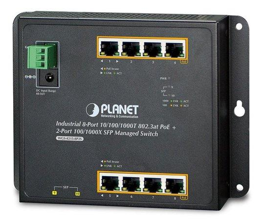 Planet WGS-4215-8P2S nástěnný PoE switch 8x1000B-T,2x SFP, Web/SNMP, 802.3at