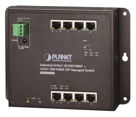 Planet WGS-4215-8T2S nástěnný switch 8x1000B-T,2x SFP, správa Web/SNMP, DIN,IP30, -40~75°C, dual DC,fanless