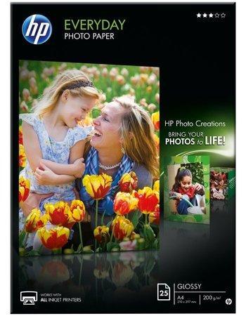 Fotografický papír, do inkoustové tiskárny, lesklý, A4, 200g, HP, bal. 25 ks, Q5451A