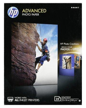 Fotografický papír, do inkoustové tiskárny, lesklý, 13x18 cm, 250g, HP, bal. 25 ks, Q8696A