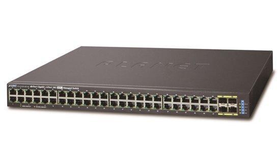 Planet GS-5220-48T4X, L2/L3 10Gb switch 48x TP 100/1000, 4x 10G SFP+, 4x SFP, DDM, Web/SNMPv3, IGMPv3, GS-5220-48T4X