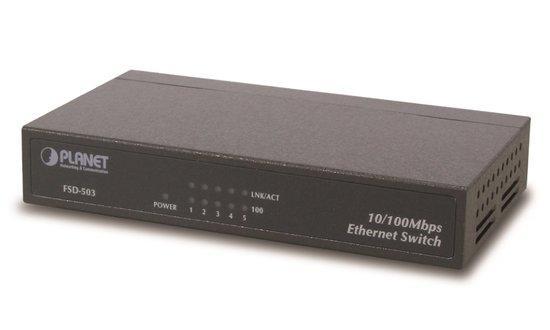 """Planet FSD-503 switch 5x 10/100Base-TX, 10"""", kov, fanless, FSD-503"""
