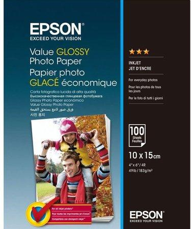 EPSON Value Glossy Photo Paper - 10x15cm - 100 sheets, C13S400039