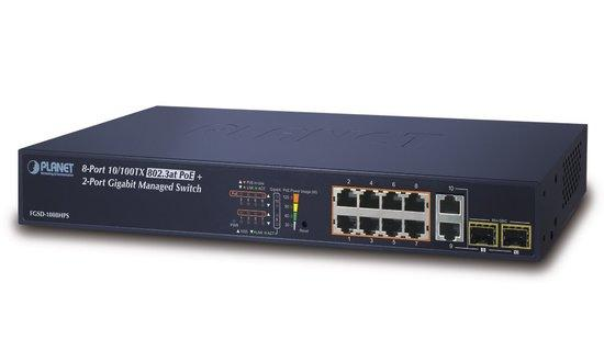 Planet FGSD-1008HPS PoE switch, 8x100, 2x1000-TP/SFP, Web/SNMP, STP/RSTP, ext 10Mb/s,IEEE 802.3at 125W, FGSD-1008HPS