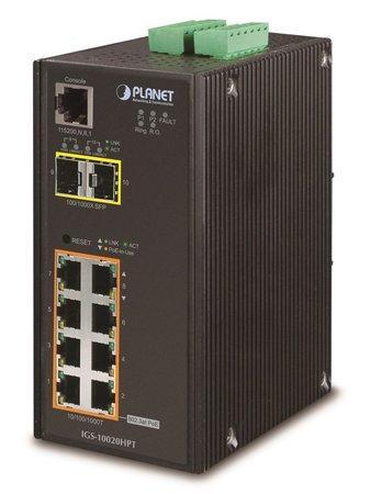 PLANET IGS-10020HPT Průmyslový Switch 8x 10/100/1000 PoE+ (270W) + 2x 100/1000 SFP, Management, -40