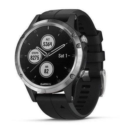 Garmin GPS sportovní hodinky fenix5 Plus Silver, černý řemínek