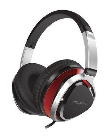 CREATIVE AURVANA LIVE!2 RED sluchátka s mikrofonem, konektor 3.5mm, náhlavní sluchátka, červené