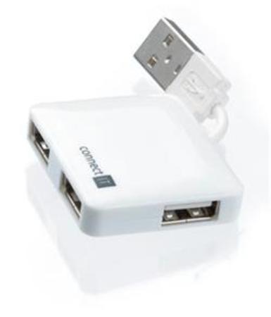 CONNECT IT USB hub se 4 porty MINI bílý