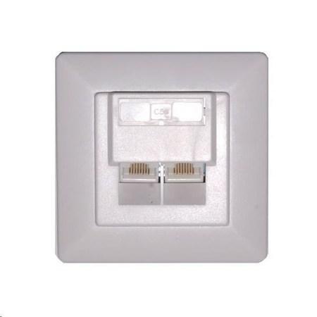 Zásuvka 2xRJ45 nestíněná pod omítku (při užití krabičky i na zeď), Cat6