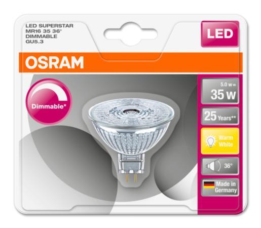 Osram LED žárovka 4052899390072 12 V, GU5.3, 5 W = 35 W, teplá bílá, reflektor, stmívatelná