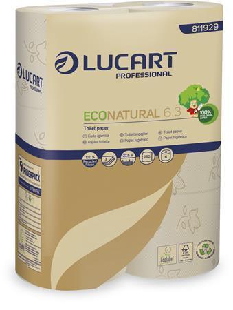"""Toaletní papír """"EcoNatural 6.3"""", hnědá, 3-vrstvý, 27,5 m, LUCART, pack 6 ks"""