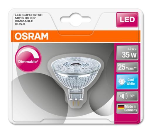 Osram LED žárovka 4052899390096 12 V, GU5.3, 5 W = 35 W, neutrální bílá, reflektor, stmívatelná