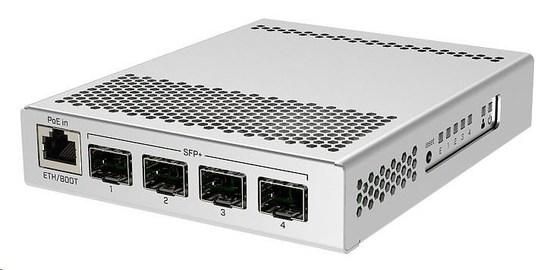 MikroTik Cloud Router Switch CRS305-1G-4S+IN, Dual Boot (SwitchOS, RouterOS), 800MHz, 512MB RAM, 4xSFP+, vč.L5, CRS305-1G-4S+IN