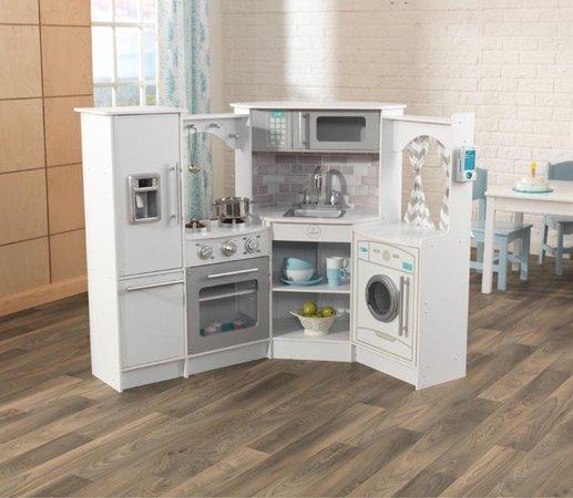 KIDKRAFT Dřevěná rohová kuchyňka s efekty Ultimate Corner Play - bílá