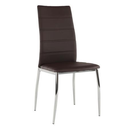 Tempo Kondela Jídelní židle, ekokůže hnědá / chrom, DELA