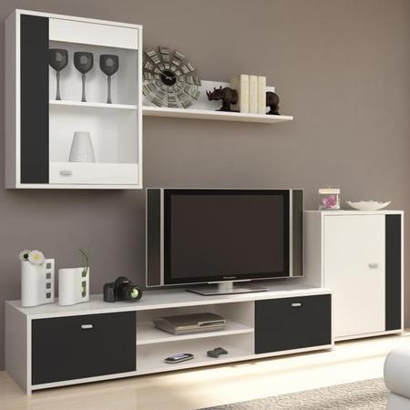 Tempo Kondela Obývací stěna, bílá / černá, GENTA