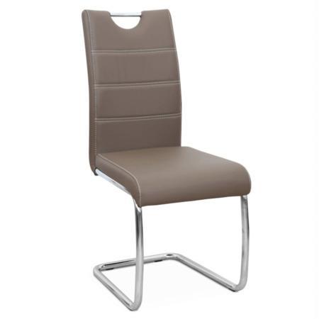 Tempo Kondela Jídelní židle, ekokůže hnědá / chrom, ABIRA NEW