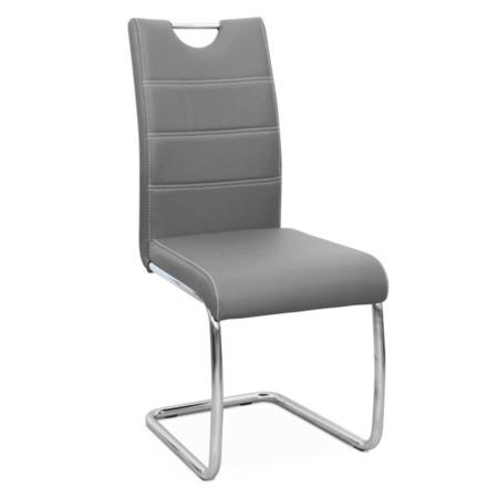 Tempo Kondela Jídelní židle, ekokůže světle, světlé šití / chrom, ABIRA NEW
