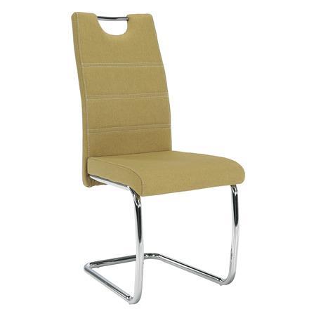 Tempo Kondela Jídelní židle, zelená látka, světlé šití / chrom, ABIRA NEW