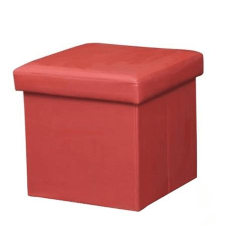 Tempo Kondela Skládací taburet, ekokůže červená, TELA NEW
