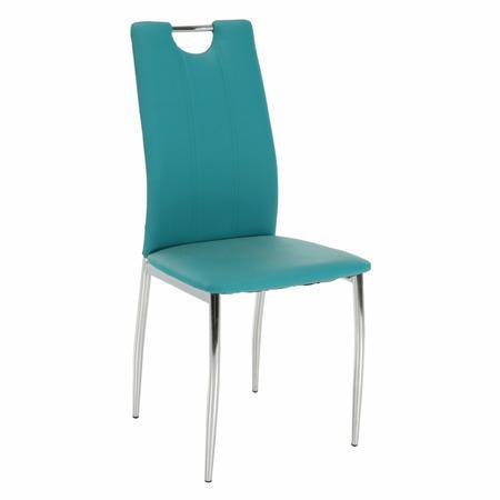 Tempo Kondela Jídelní židle, ekokůže petrolejová / chrom, OLIVA NEW