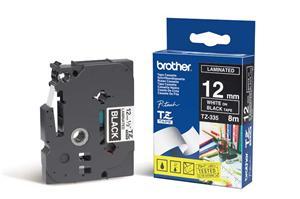Brother originální páska do tiskárny štítků, Brother, TZE-335, bílý tisk/černý podklad, laminovaná,