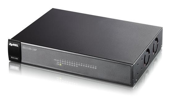 Zyxel ES1100-16P 16-port 10/100 Ethernet switch, 8 portů je PoE, ES1100-16P-EU0102F