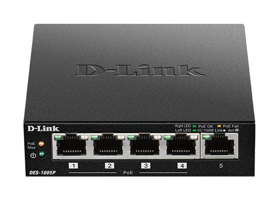 D-Link 5-Port Fast Ethernet PoE Desktop Switch, 1 PoE port max. 15.4 W, DES-1005P/E