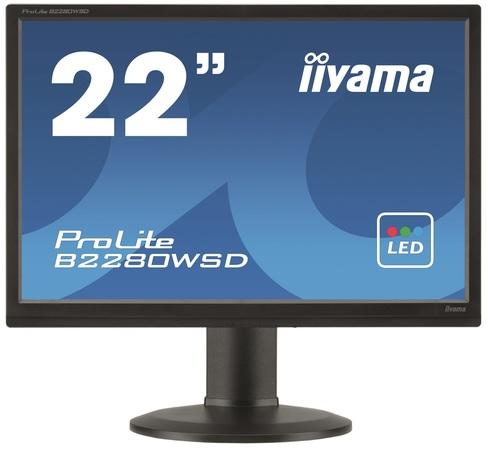 Iiyama LCD B2280WSD-B1 22`` LED, 5ms, VGA/DVI, repro, 1680x1050, HAS, pivot, č, B2280WSD-B1